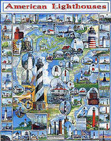 WhiteMount American Lighthouses Collage Puzzle (1000pc)