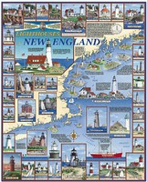 WhiteMount Lighthouses of New England Collage Puzzle (1000pc)