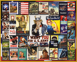 WhiteMount World War II Vintage Posters Collage Puzzle (1000pc)