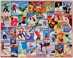 WhiteMount Ski Posters Collage Puzzle (1000pc)