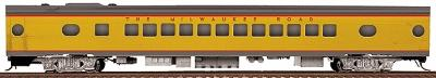 Walthers Milwaukee Road #535-Series 52-Seat Coach - Ready to Run -- Notched Sills & Clasp Brakes (UP City Scheme, Armour Yellow, gray) - HO-Scale