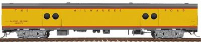 Walthers Milwaukee Road Yellow & Gray Streamlined Cars Assembled -- Express Car #2 #1317-29 w/Notched Sills & Clasp Brakes - HO-Scale