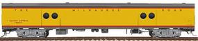 Walthers Milwaukee Road Yellow & Gray Streamlined Cars Assembled Express Car #2 #1317-29 w/Notched Sills & Clasp Brakes - HO-Scale