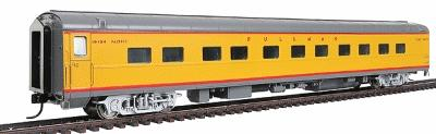 Walthers UP City Streamliner 11 Double-Bedroom Sleeper P-S Plan #4198 - Ready to Run -- Union Pacific(R) Placid Series (Armour Yellow, gray, silver, red) - HO-Scale