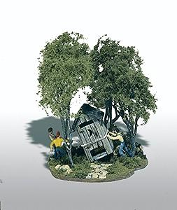 Woodland Scenics Mini Scene Outhouse Mischief Kit -- HO Scale Model Railroad Building -- #108