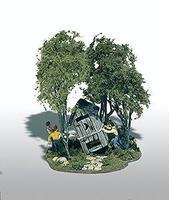 Woodland Mini Scene Outhouse Mischief Kit HO Scale Model Railroad Building #108