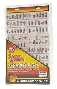 Woodland Scenics Scenic Accents Worker Economy Pack -- HO Scale Model Figures -- #205