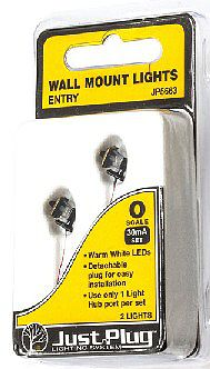 Woodland Scenics Just Plug Entry Wall Mount Lights (2) -- O Scale Model Railroad Street Light -- #5663