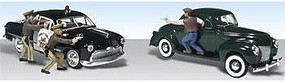 Woodland Getaway Gangsters 1949 Ford Police Car w/Figures AutoScene HO Scale Model Railroad #as5540
