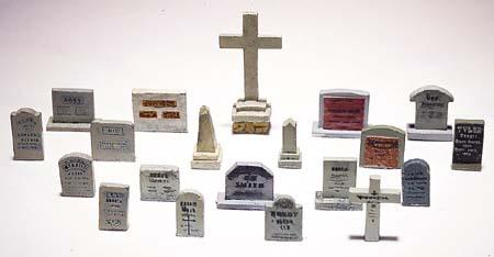 Woodland Scenics Scenic Detail Kit -- Tombstones (20) -- HO Scale Model Railroad Building Accessory -- #d201
