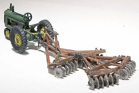 Woodland Scenics Tractor & Disc Plow Metal Cast Kit -- HO Scale Model Railroad Vehicle -- #d207