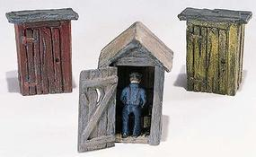 Woodland Outhouses (3) & Man HO Scale Model Railroad Building #d214