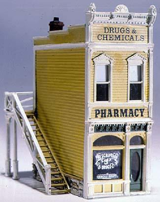 Woodland Scenics Scenic Details -- Pharmacy Kit -- HO Scale Model Railroad Building -- #d221