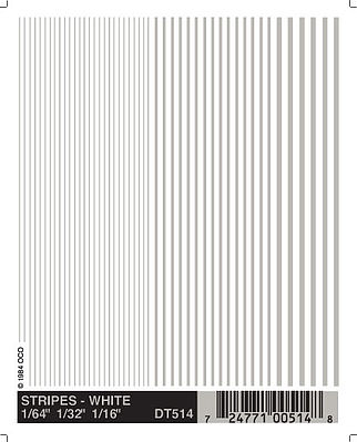Woodland Scenics White Stripes -- 1/64'' - 3/16'' -- Model Railroad Decal -- #dt514
