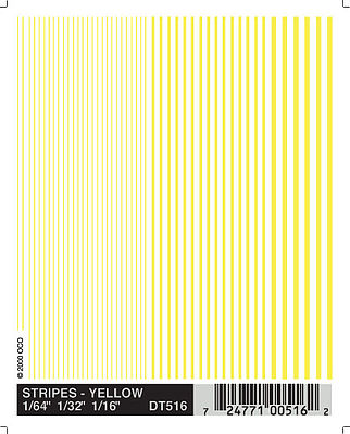 Woodland Scenics Stripes Yellow -- 1/64'' - 3/16'' -- Model Railroad Decal -- #dt516