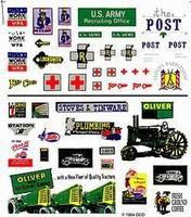 Woodland Dry Transfer Assorted Logos & Advertising Signs HO Scale Model Railroad Billboard S #dt556