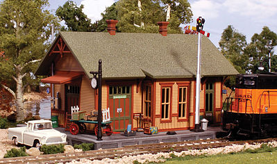 Woodland Scenics Pre Fab Woodland Station N Scale -- N Scale Model Railroad Building -- #pf5207