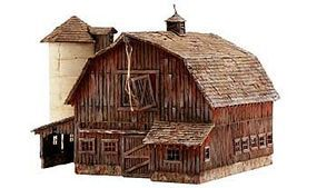 Woodland Rustic Barn Pre-Fab Kit N Scale Model Railroad Building #pf5211