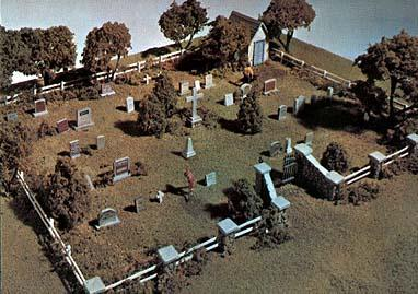 Woodland Scenics Maple Leaf Cemetery Kit HO Scale -- HO Scale Model Railroad Building Accessory -- #s131