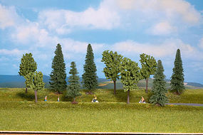 Walthers-Acc Mixed Deciduous & Pine Trees 10 Pack (3-3/8 to 5-1/2) HO Scale Model Railroad Tree #1156