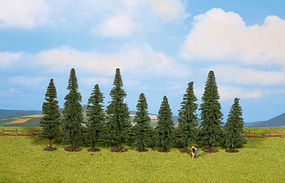 Walthers-Acc Fir Trees 9 Pack (3-1/8 to 4-3/4) HO Scale Model Railroad Tree #1160