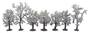 Walthers-Acc Snow Trees White Foliage with Flat Base 7 Pack (3-1/8 to 3-15/16) Model Railroad Tree #1167