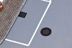 Walthers-Acc Manhole Covers & Sewer Grates Etched-Metal - 4 Manhole Covers & 6 Sewer Grates