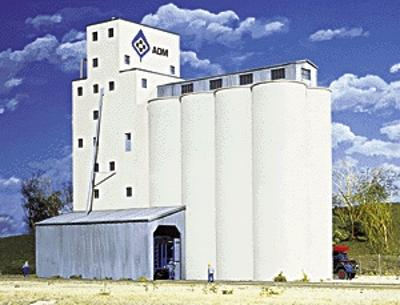 Walthers ADM(R) Concrete Grain Elevator - Kit -- HO Scale Model Railroad Building -- #3022