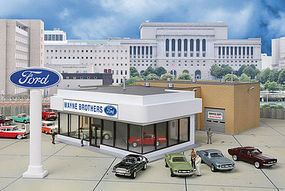 Walthers Wayne Bros. Ford Dealership - Kit HO Scale Model Railroad Building #3483