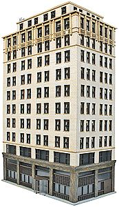 Walthers Ashmore Hotel - Kit - 8-5/8 x 4-7/16 x 13-7/8'' -- HO Scale Model Railroad Building -- #3764