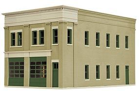 Walthers Two-Bay Fire Station - Kit - 8 x 4-7/8 x 5-1/2 HO Scale Model Railroad Building #4022
