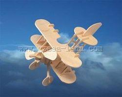 Wood-3D Biplane (9 Wingspan) Wooden 3D Jigsaw Puzzle #1012