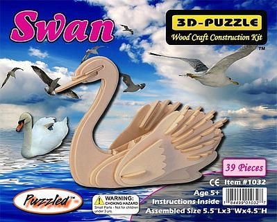 Wood 3-D Puzzles Swan Skeleton Puzzle (5.5'' Long) -- Wooden 3D Jigsaw Puzzle -- #1032
