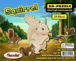 Wood-3D Squirrel (4.7 Tall) Wooden 3D Jigsaw Puzzle #1091