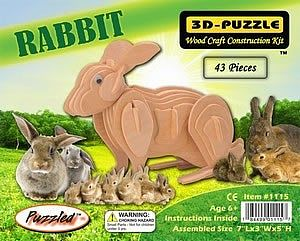 Wood 3-D Puzzles Rabbit (7'' Long) -- Wooden 3D Jigsaw Puzzle -- #1115