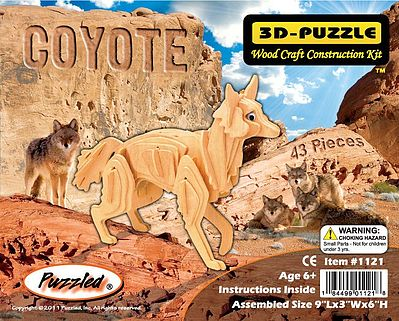 Wood 3-D Puzzles Coyote (Red Fox) (9'' Long) -- Wooden 3D Jigsaw Puzzle -- #1121