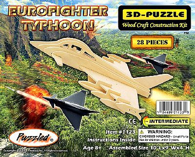 Wood 3-D Puzzles Eurofighter Typhoon Aircraft Skeleton Puzzle (10'' Long) -- Wooden 3D Jigsaw Puzzle -- #1123