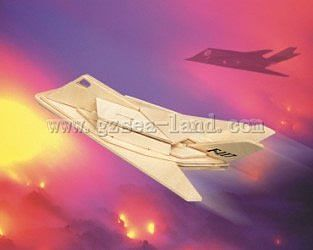 Wood 3-D Puzzles F117 USAF Fighter (10'' Long) -- Wooden 3D Jigsaw Puzzle -- #1231