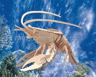 Wood 3-D Puzzles Lobster (12'' Long) -- Wooden 3D Jigsaw Puzzle -- #1256