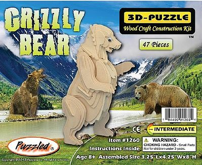 Wood 3-D Puzzles Grizzly Bear Skeleton Puzzle (8'' Tall) -- Wooden 3D Jigsaw Puzzle -- #1260