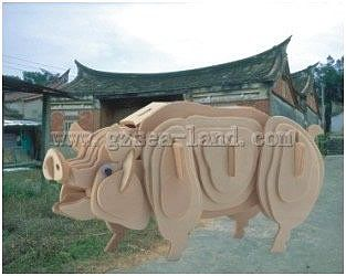 Wood 3-D Puzzles Pig Skeleton Puzzle (10'' long) -- Wooden 3D Jigsaw Puzzle -- #1266