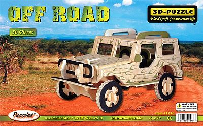 Wood 3-D Puzzles Off Road Jeep (Pre-Painted) (7'' Long) -- Wooden 3D Jigsaw Puzzle -- #1278