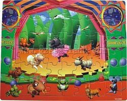 Wood-3D Cartoon Animals on Stage (48pc) Wooden Jigsaw Puzzle #2003