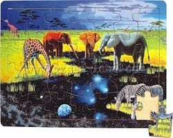 Wood-3D Animals Drinking from Outer Space Watering Hole (28pc) Wooden Jigsaw Puzzle #3006