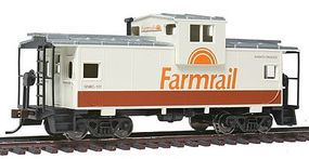 Walthers-Trainline Wide Vision Caboose Farmrail (Tan, Brown, Orange) Model Train Freight Car HO Scale #1526