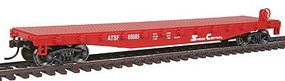 Walthers-Trainline Flatcar Ready to Run AT&SF #88985 Red & White Model Train Freight Car HO Scale #1605