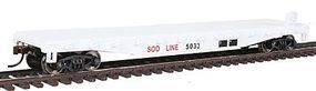 Walthers-Trainline Flatcar Ready to Run Soo Line #5033 White Model Train Freight Car HO Scale #1608