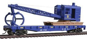 Walthers-Trainline Flatcar w/Logging Crane Alaska Railroad Blue Model Train Freight Car HO Scale #1780
