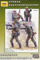 Zvezda German Panzergrenadiers (4) Plastic Model Military Figure 1/35 Scale #3582