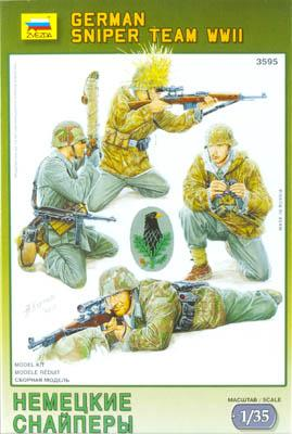 Zvezda WWII German Sniper Team (4) -- Plastic Model Military Figure -- 1/35 Scale -- #3595